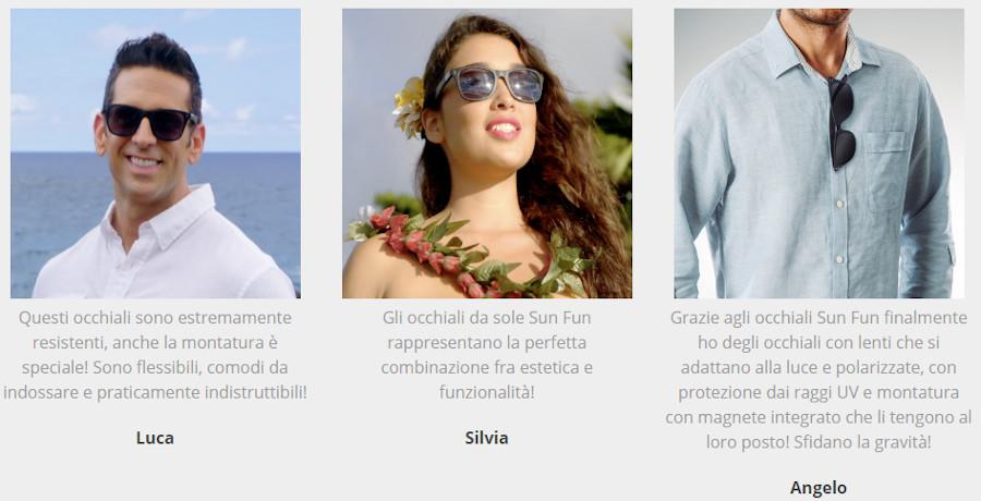 Occhiali Sun Fun Glasses, opinioni e recensioni